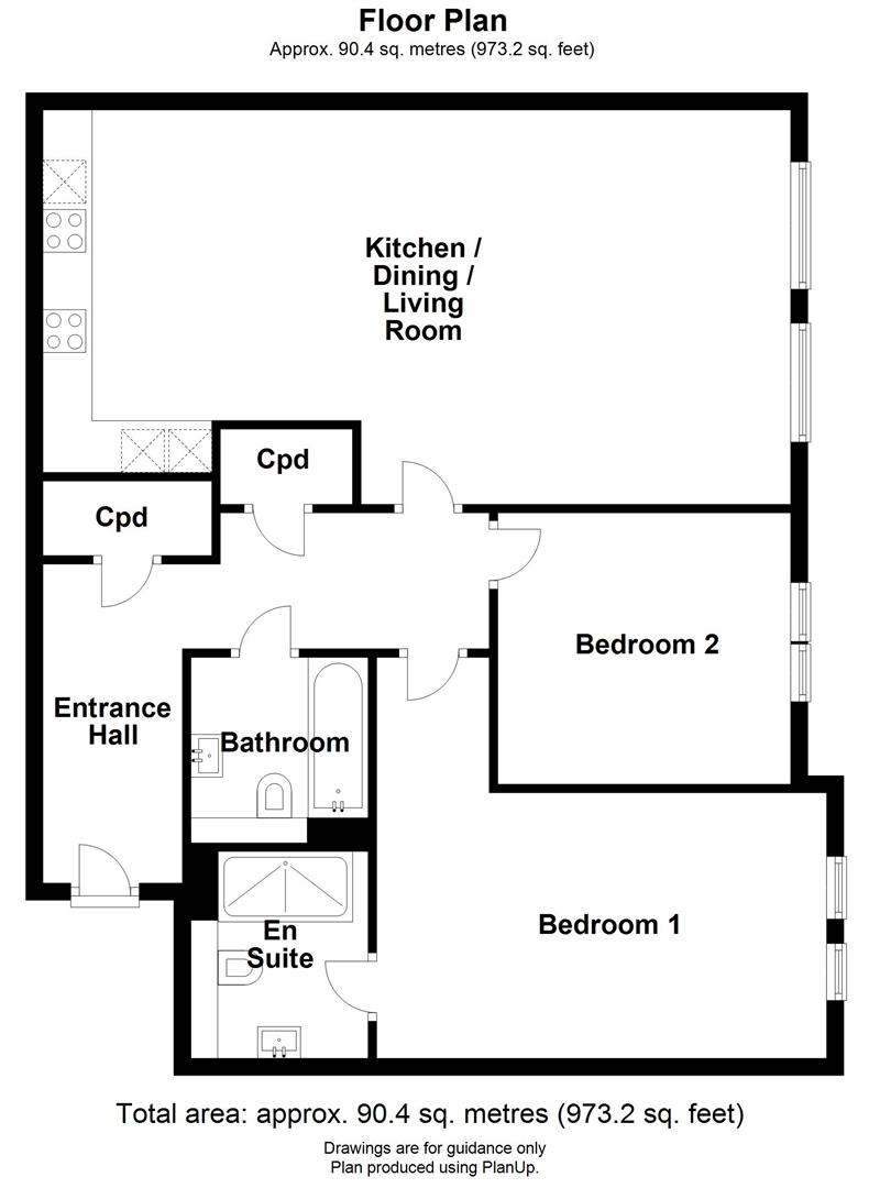 Floor plan Hills Road, Cambridge